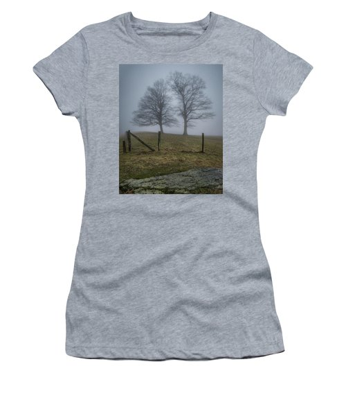 Twin Trees Late Fall Foggy Morning Women's T-Shirt