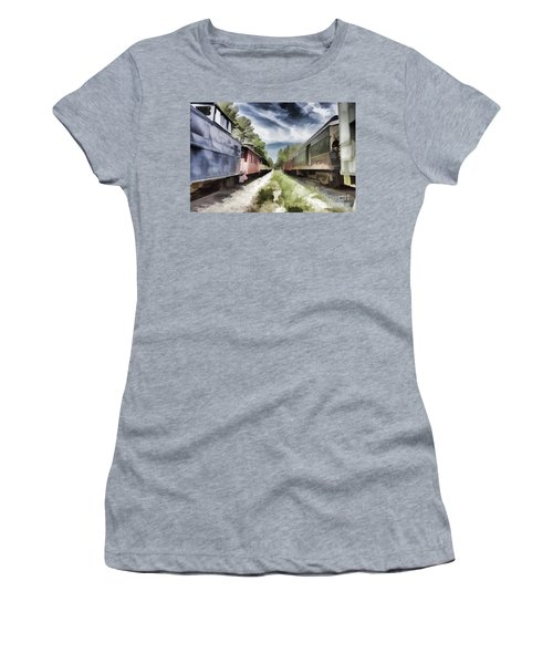 Twixt The Trains Women's T-Shirt (Junior Cut) by Roberta Byram