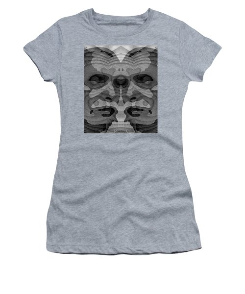 Women's T-Shirt featuring the digital art Two-faced Bw Version by Visual Artist Frank Bonilla