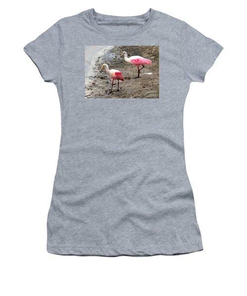 Two Roseate Spoonbills Women's T-Shirt (Junior Cut) by Carol Groenen