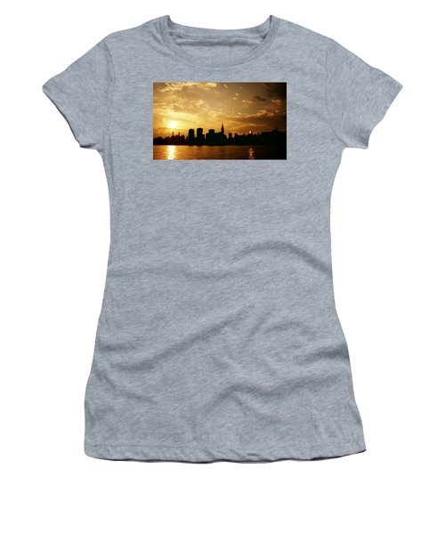 Two Suns - The New York City Skyline In Silhouette At Sunset Women's T-Shirt (Athletic Fit)