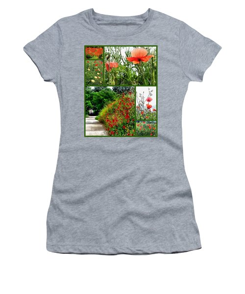 Umbrian Red Poppy Collage Women's T-Shirt (Athletic Fit)