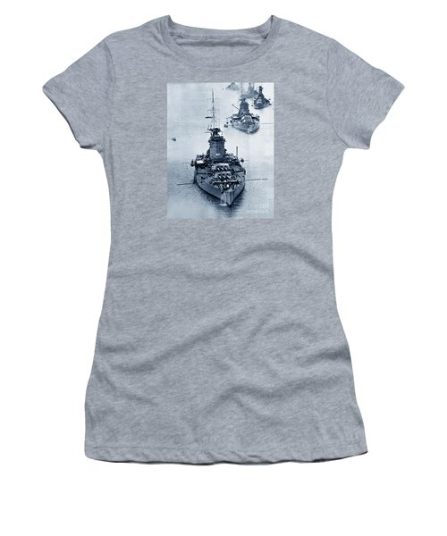 Hms Nelson And Hms Rodney Battleships And Battlecruisers Hms Hood Circa 1941 Women's T-Shirt (Athletic Fit)