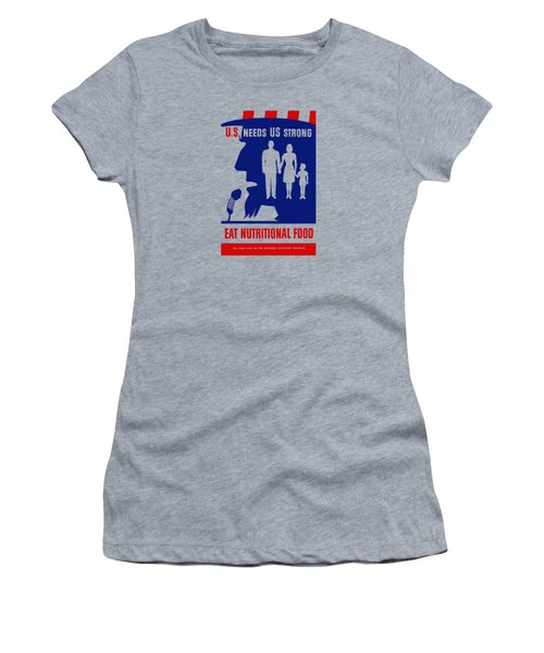 Women's T-Shirt (Junior Cut) featuring the mixed media Uncle Sam - Eat Nutritional Food by War Is Hell Store