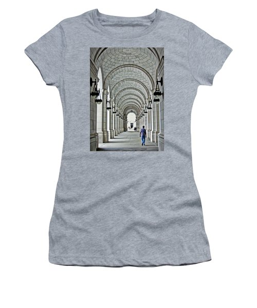 Women's T-Shirt (Junior Cut) featuring the photograph Union Station Exterior Archway by Suzanne Stout