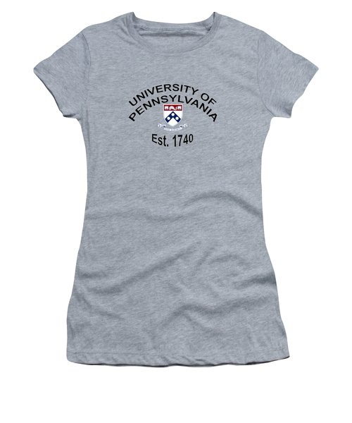 University Of Pennsylvania Est 1740 Women's T-Shirt (Junior Cut) by Movie Poster Prints