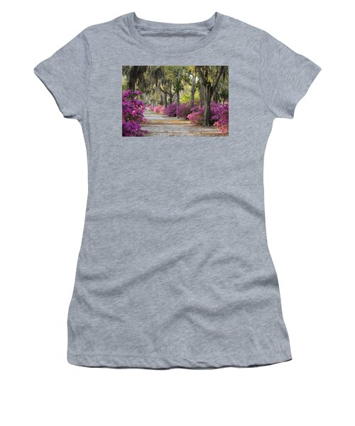 Unpaved Road With Azaleas And Oaks Women's T-Shirt
