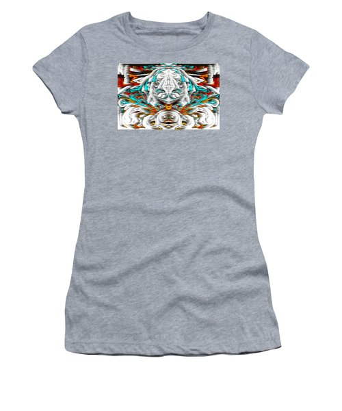 Women's T-Shirt (Athletic Fit) featuring the digital art 992.042212mirrorornategoldvert-2-c by Kris Haas
