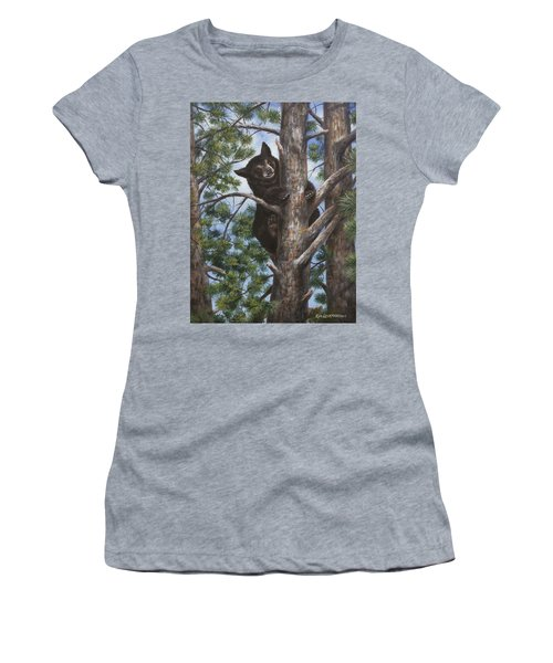 Women's T-Shirt (Junior Cut) featuring the painting Up A Tree by Kim Lockman