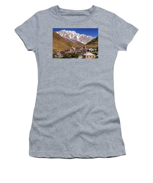 Women's T-Shirt (Junior Cut) featuring the photograph Ushguli And  Shkhara Mount by Sergey Simanovsky