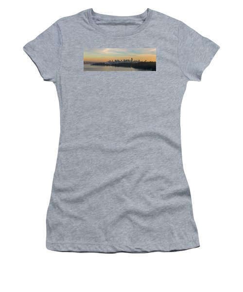 Vancouver Bc Skyline Along Stanley Park At Sunset Women's T-Shirt (Athletic Fit)