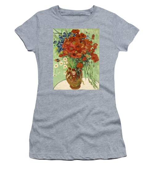 Women's T-Shirt featuring the painting Vase With Daisies And Poppies by Van Gogh