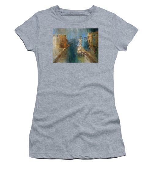 Venice Blue And Yellow Women's T-Shirt (Athletic Fit)