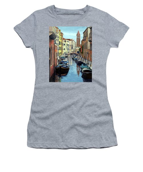 Women's T-Shirt (Junior Cut) featuring the painting Venice Canal Reflections by Janet King