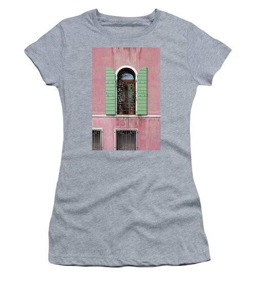 Venice Window In Pink And Green Women's T-Shirt (Athletic Fit)