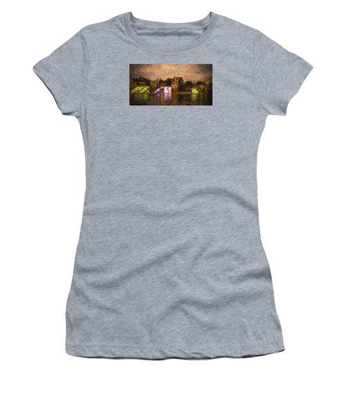 Vergennes Falls Lit Up Women's T-Shirt (Junior Cut) by Rena Trepanier