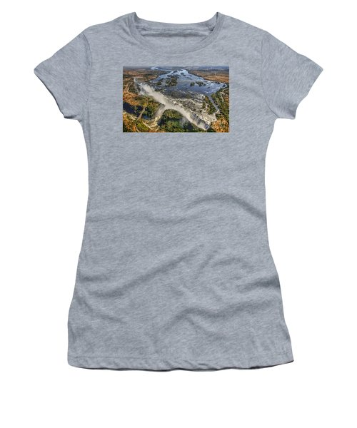 Women's T-Shirt (Junior Cut) featuring the photograph Victoria Falls, The Smoke That Thunders by Myrna Bradshaw