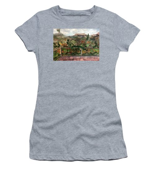 Women's T-Shirt featuring the mixed media View From The Deck by Norma Duch