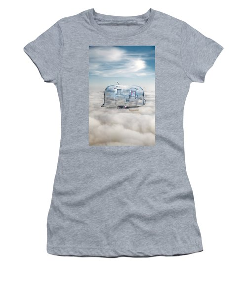 Vintage Camping Trailer In The Clouds Women's T-Shirt (Athletic Fit)