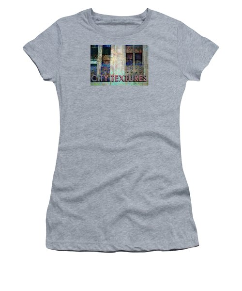 Women's T-Shirt (Junior Cut) featuring the mixed media Vintage City Textures by John Fish