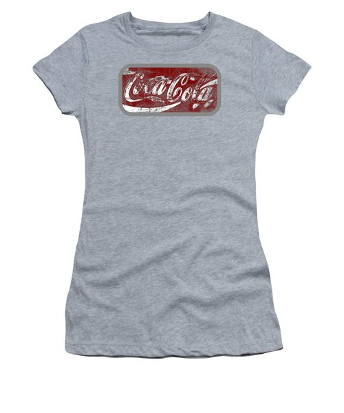 Coca Cola Red And White Sign Gray Border With Transparent Background Women's T-Shirt (Athletic Fit)