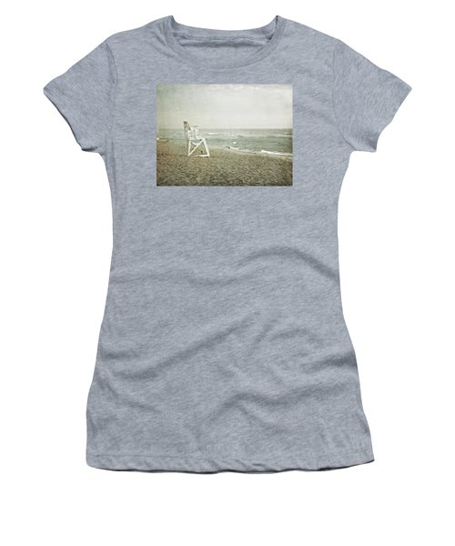 Vintage Inspired Beach With Lifeguard Chair Women's T-Shirt (Junior Cut) by Brooke T Ryan