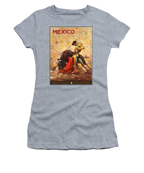Vintage Mexico Bullfight Travel Poster Women's T-Shirt (Junior Cut) by George Pedro