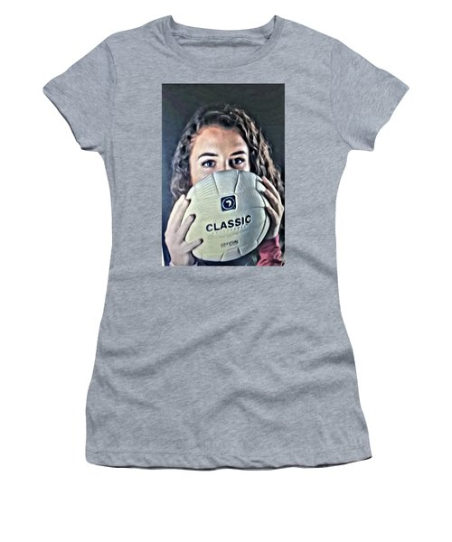 Women's T-Shirt featuring the painting Volleyball Beauty Girl by Marian Palucci-Lonzetta