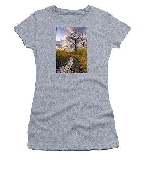 Walk With Me Women's T-Shirt (Junior Cut) by John Rivera