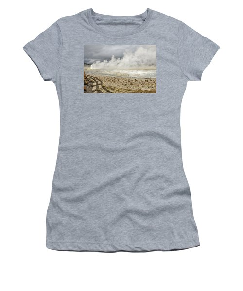 Women's T-Shirt (Athletic Fit) featuring the photograph Wall Of Steam by Sue Smith