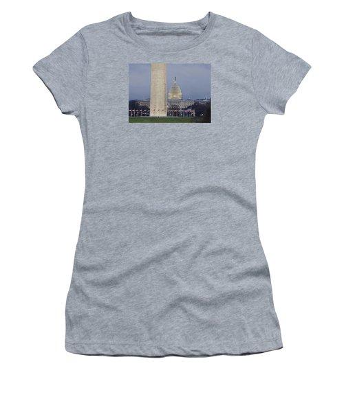 Washington Monument And United States Capitol Buildings - Washington Dc Women's T-Shirt (Junior Cut) by Brendan Reals