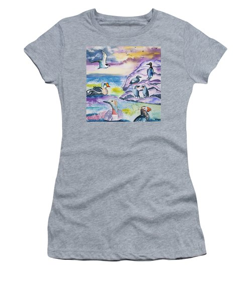 Watercolor - Alaska Seabird Gathering Women's T-Shirt (Athletic Fit)