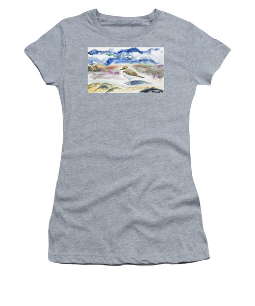 Watercolor - Double-banded Plover On The Beach Women's T-Shirt