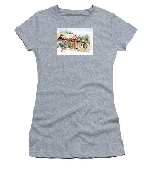 Watercolor Japanese Garden Gate Women's T-Shirt