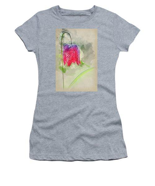 Watercolour Painting Of Single Snake's Head Fertillery Fresh Spr Women's T-Shirt