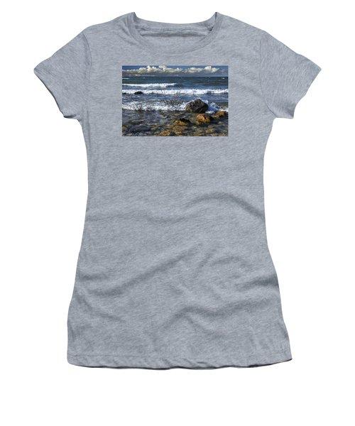 Waves Crashing Ashore At Northport Point On Lake Michigan Women's T-Shirt