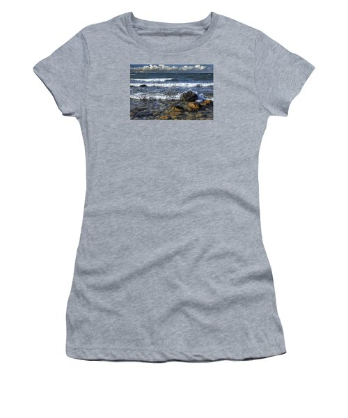 Waves Crashing Ashore At Northport Point On Lake Michigan Women's T-Shirt