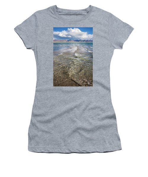 Women's T-Shirt (Athletic Fit) featuring the photograph Waves Of Namtso, Tibet, 2007 by Hitendra SINKAR