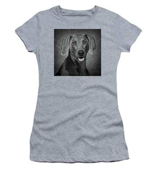 Weimaraner In Black And White Women's T-Shirt (Junior Cut) by Greg Mimbs