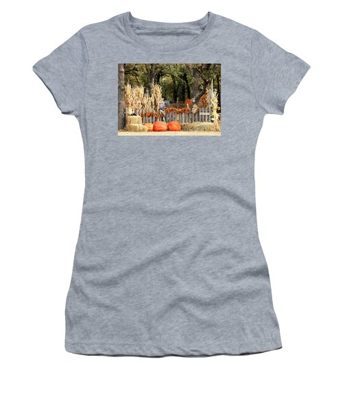 Women's T-Shirt (Athletic Fit) featuring the photograph Welcome To The Pumpkin Patch by Sheila Brown