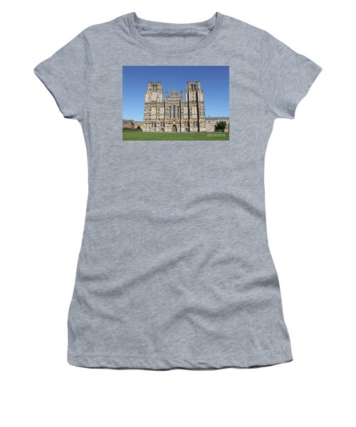Women's T-Shirt (Junior Cut) featuring the photograph Wells Cathedral by Linda Prewer