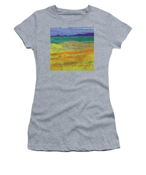 Women's T-Shirt featuring the painting Western Edge Prairie Dream by Cris Fulton