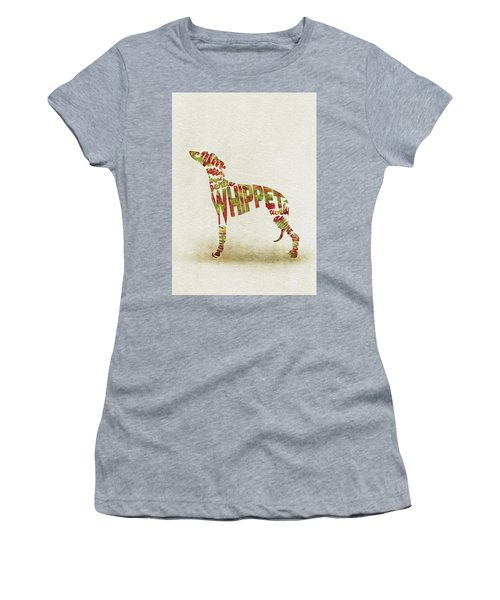 Women's T-Shirt (Athletic Fit) featuring the painting Whippet Watercolor Painting / Typographic Art by Inspirowl Design