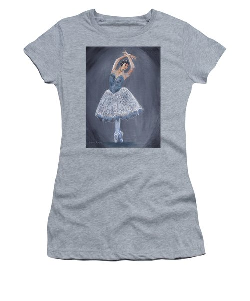 Women's T-Shirt (Athletic Fit) featuring the painting White Ballerina by Jamie Frier