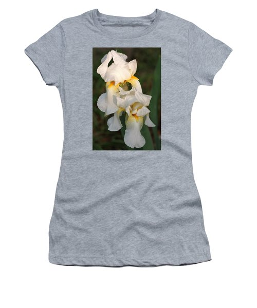 Women's T-Shirt (Junior Cut) featuring the photograph Two White Bearded Iris At Dusk by Sheila Brown