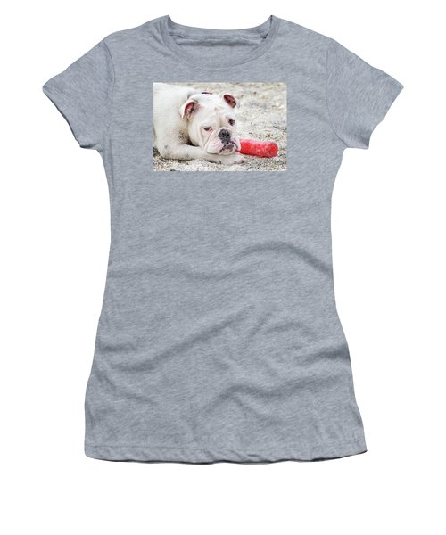 White Bull Dog Women's T-Shirt (Athletic Fit)