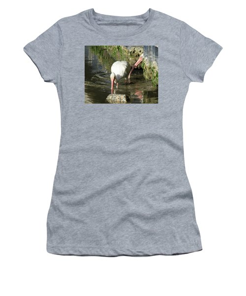 White Ibis Couple Women's T-Shirt (Junior Cut) by George Randy Bass