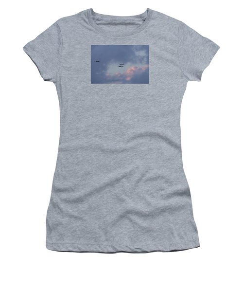 White Ibis In Flight At Sunset Women's T-Shirt