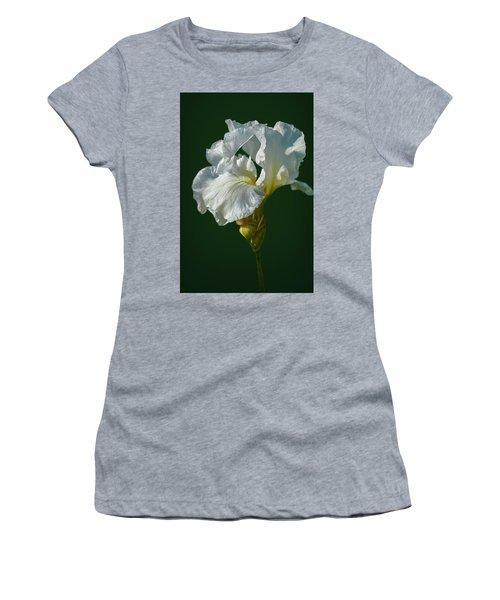 White Iris On Dark Green #g0 Women's T-Shirt (Athletic Fit)