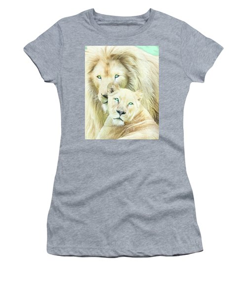 Women's T-Shirt (Athletic Fit) featuring the mixed media White Lion Family - Mates by Carol Cavalaris